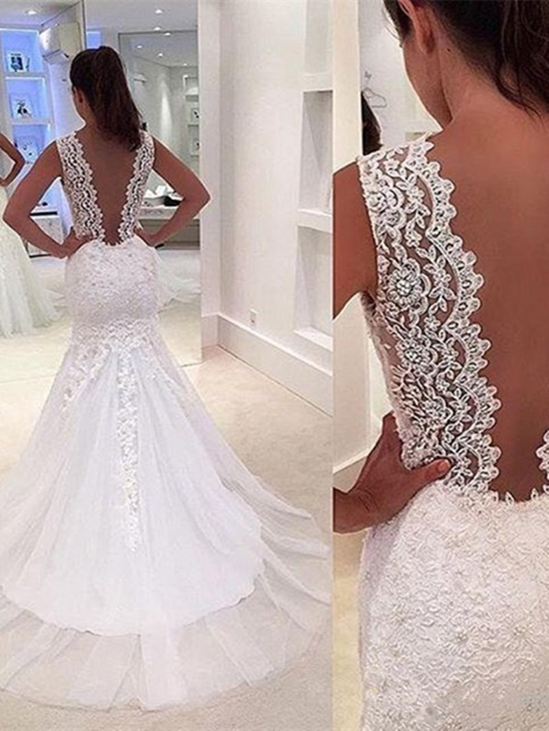 Ericdress Deep V Neck Appliques Mermaid Wedding Dress