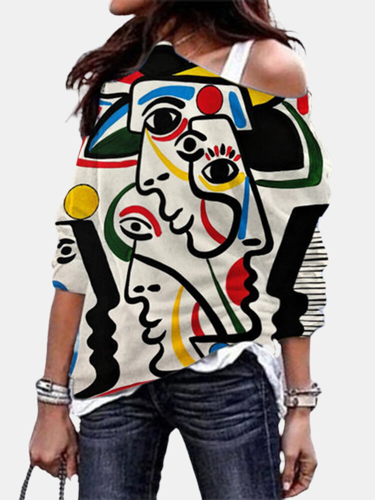 Abstract Print Long Sleeve O-neck Casual Plus Size T-shirt