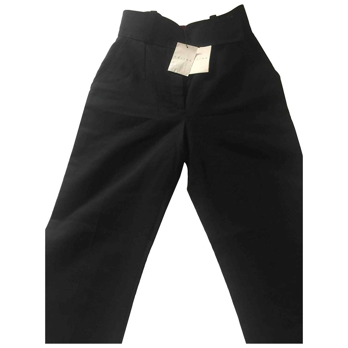 Celine \N Black Cotton Trousers for Women 38 FR