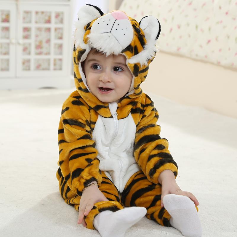 3D Live Little Tiger Shaped Golden Stripes Polyester Baby Jumpsuit