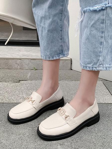 Milanoo Black Loafers Women PU Leather Round Toe Metal Details Rhinestones Slip On Shoes