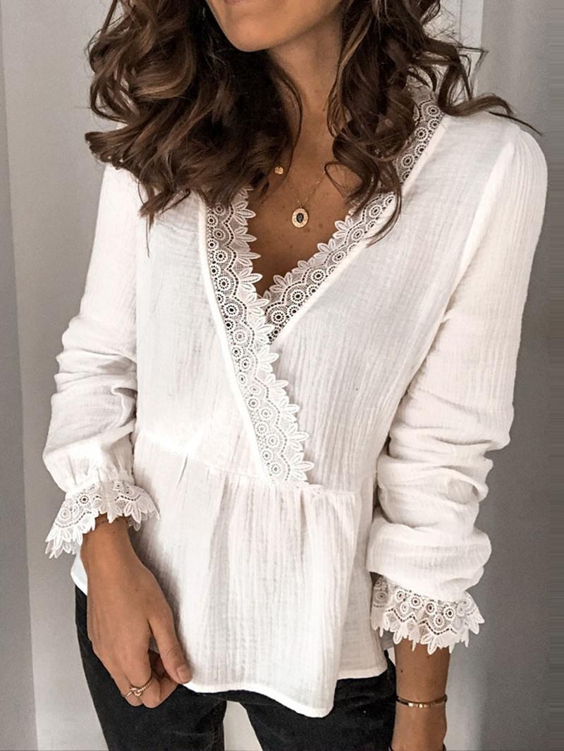 Ericdress V-Neck Standard Long Sleeve Women's Blouse