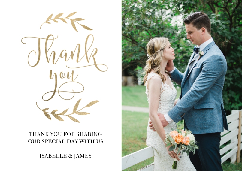 Wedding Thank You Flat Matte Photo Paper Cards with Envelopes, 5x7, Card & Stationery -Wedding Thank You Laurels by Tumbalina