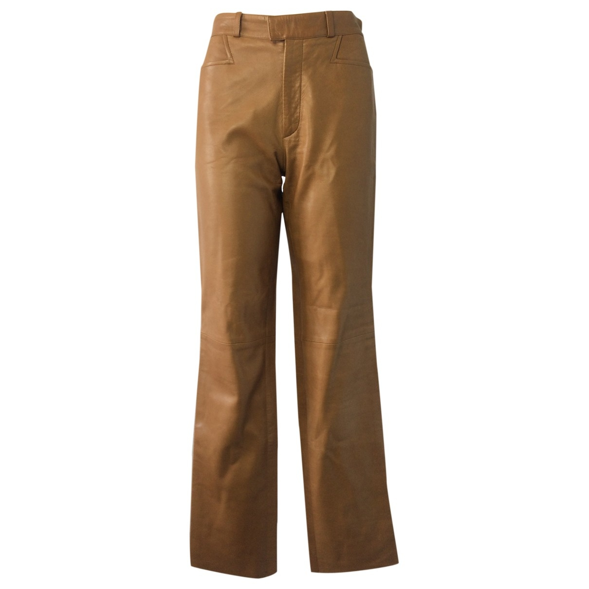 Gucci \N Camel Leather Trousers for Women 40 IT