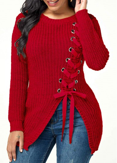Women'S Red Lace Up Front Long Sleeve Asymmetric Hem Holiday Sweater  Burgundy Solid Color Split Front Casual Jumper By Rosewe - XXL