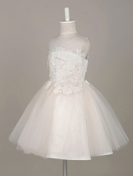 Milanoo Flower Girl Dresses Lace Flowers Applique Tutu Dress Tulle Illusion Sleeveless Toddler's Pageant Dress