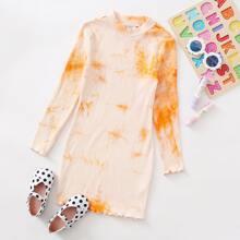 Girls Lettuce Trim Rib-knit Tie Dye Dress