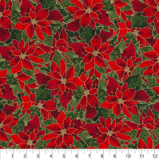 Fabric Traditions Christmas Red Poinsettia Cotton Home Décor Fabric   Michaels®