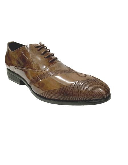Mens Cap Toe Brown Shoes