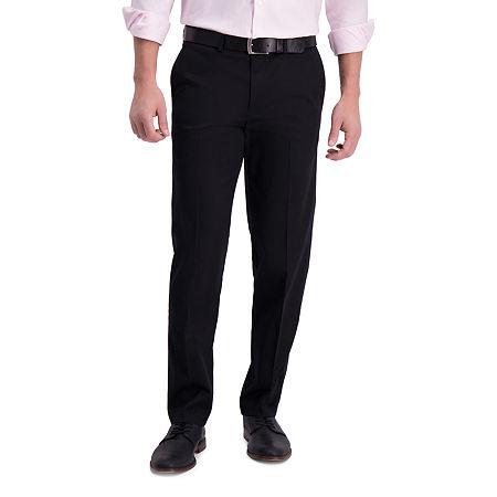 Haggar  Iron Free Premium Khaki Straight Fit Flat Front Pants, 36 30, Black