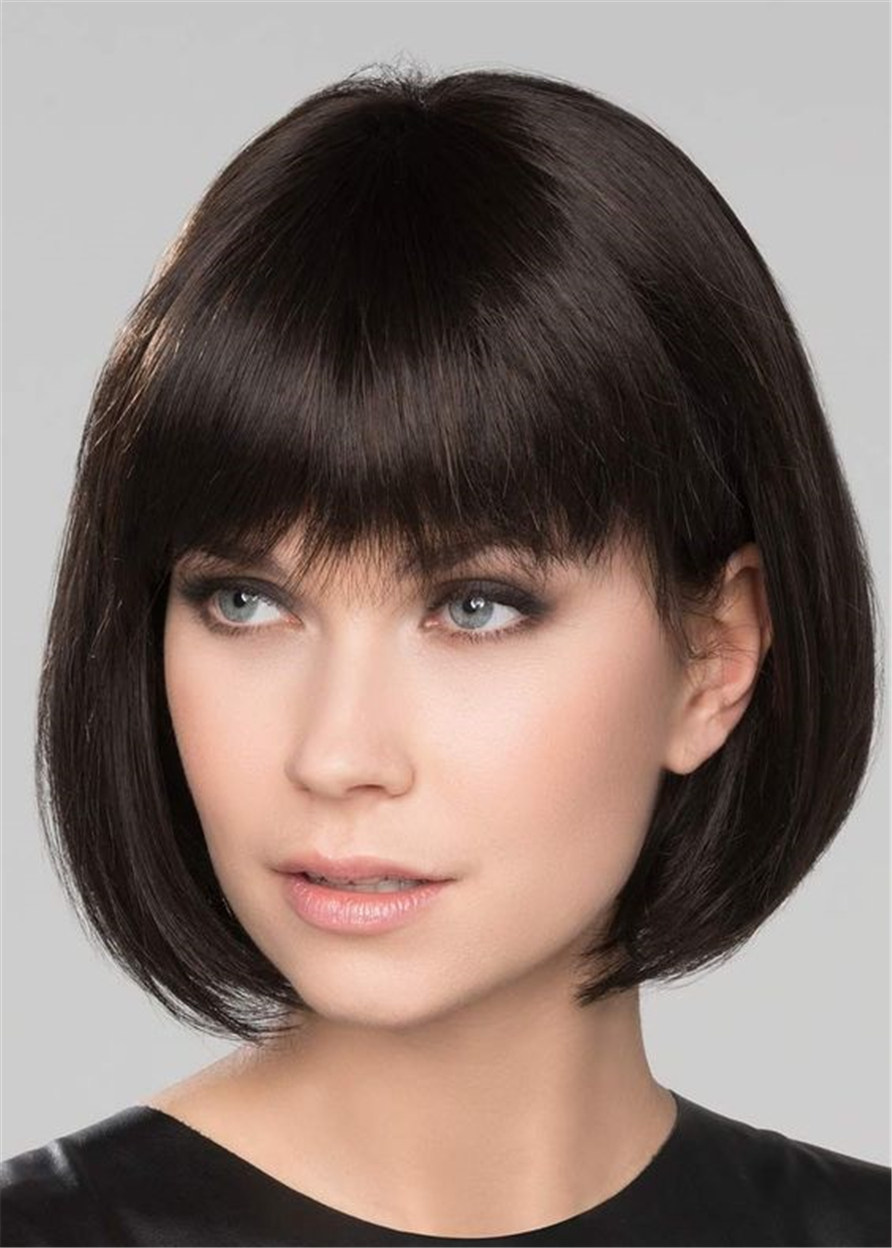 Natural Straight Women Synthetic Hair Capless 120% 14 Inches Wigs Heat Resistant Natural Looking Daily Party Wigs Cosplay Wigs with Natural Bangs with