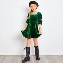 Girls Square Neck Puff Sleeve Velvet Dress
