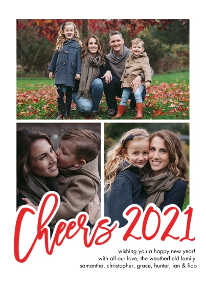 New Year's Photo Cards 5x7 Cards, Standard Cardstock 85lb, Card & Stationery -New Year 2021 Cheers Handlettered by Tumbalina