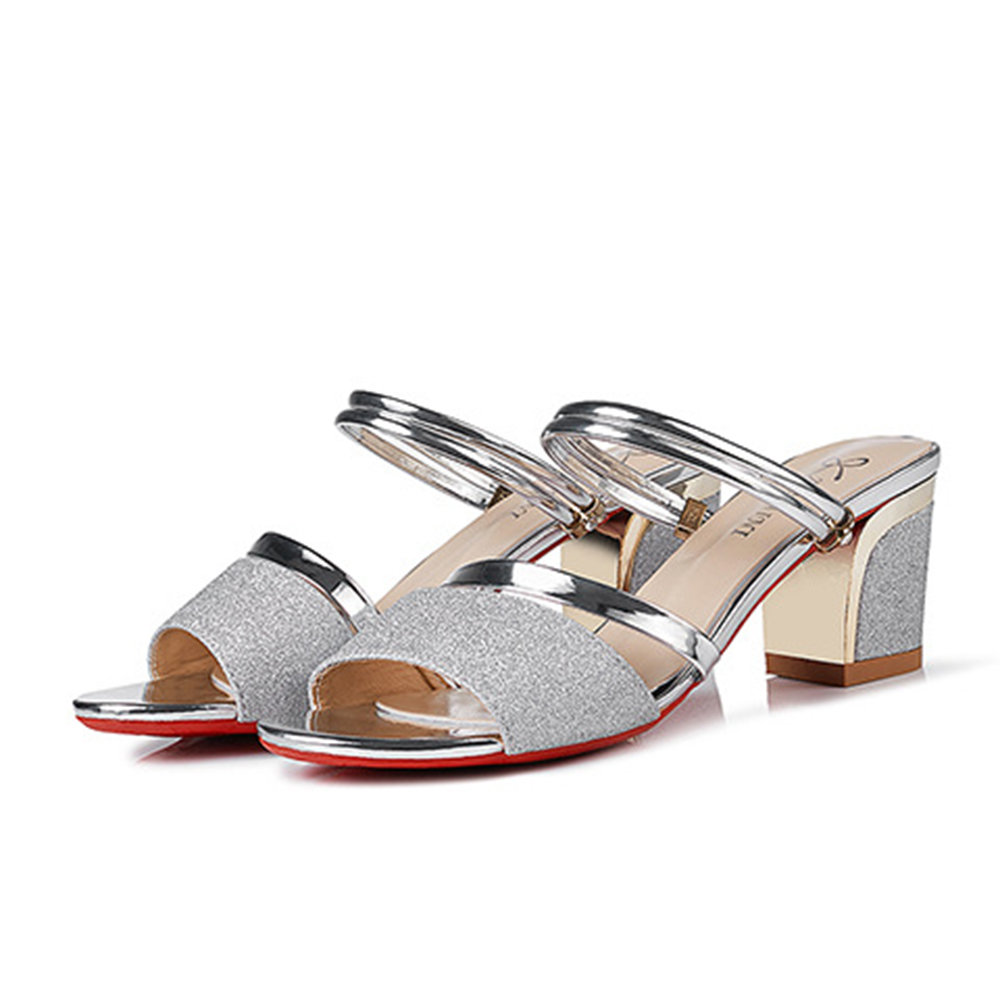 Bling Patent Leather Chunky Heel Sandals