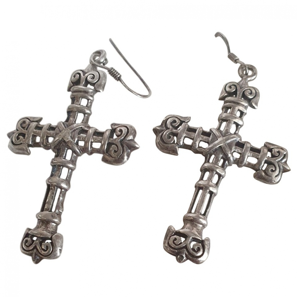Non Signé / Unsigned Motifs Religieux Silver Silver Earrings for Women \N