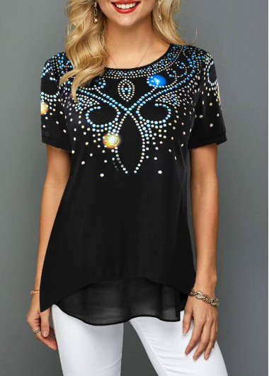 Women'S Black Printed Tunic Casual T Shirt Short Sleeve Round Neck Top By Rosewe - XL