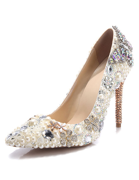 Milanoo High Heel Evening Shoes Women's Pearls Pumps Shoes Rhinestone Pointed Toe Stiletto Party Shoes