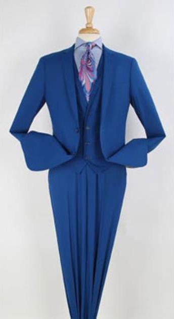 Men's Royal Blue 3 Piece 1 Wool Single Breasted Suit Narrow Leg Pants