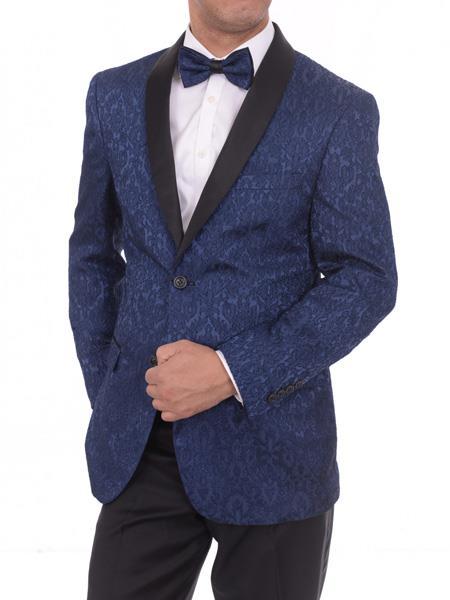 Men's Navy Blue 2 Button Satin Lapel Floral Slim Fit Blazer Sportcoat