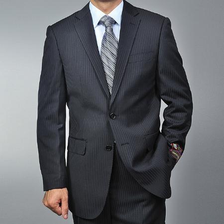 2 Button Black Tonal Pinstripe Suit Mens Cheap