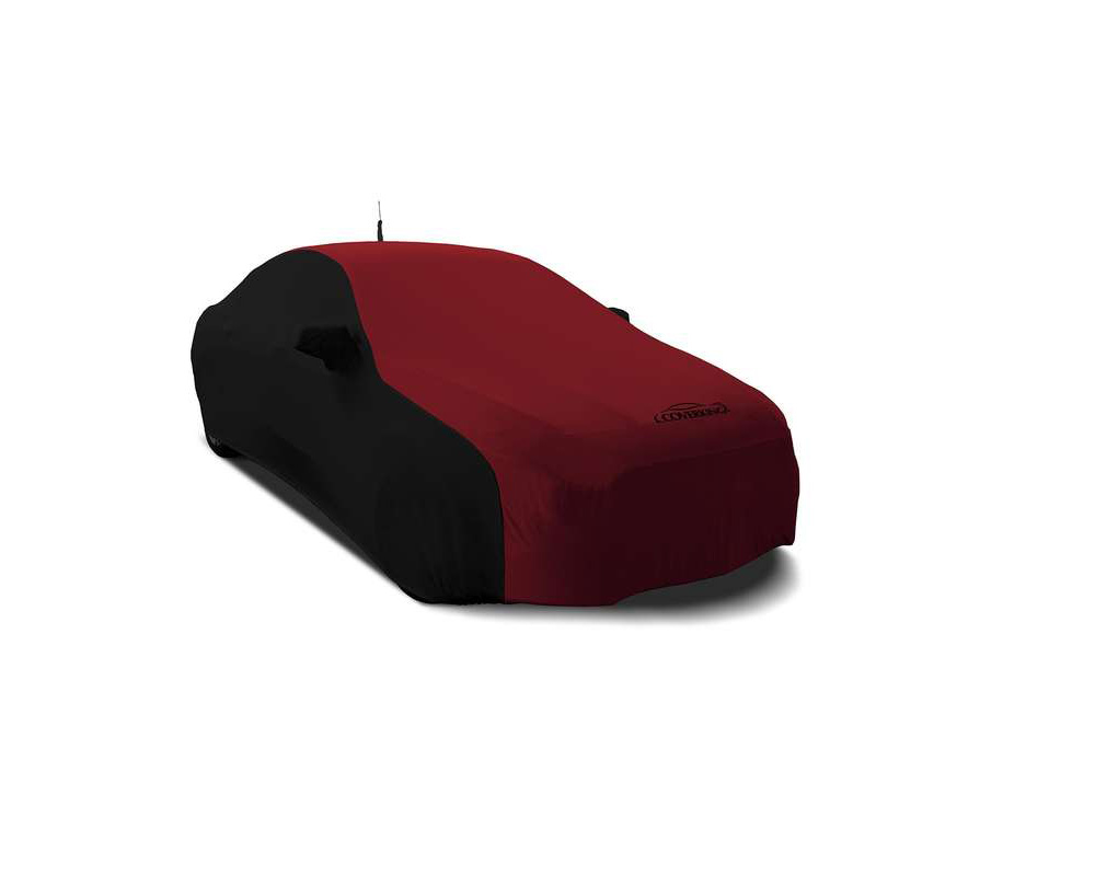 Coverking CVC2SS279MD9326 CVC2SS279 Satin Stretch 2-Tone Black Sides Ruby Red Center Custom Car Cover Mercedes-Benz SLK300 2016