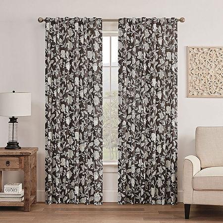 Waverly Stencil Vine Light-Filtering Back-Tab Single Curtain Panel, One Size , Black