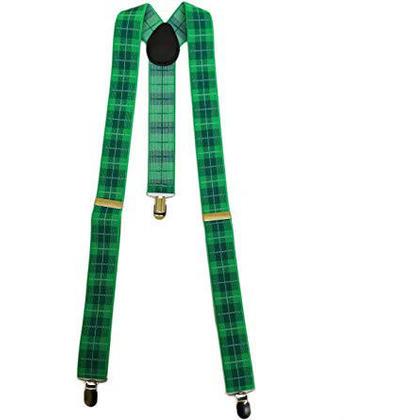 St.Patrick's Green Plaid Suspenders, 37