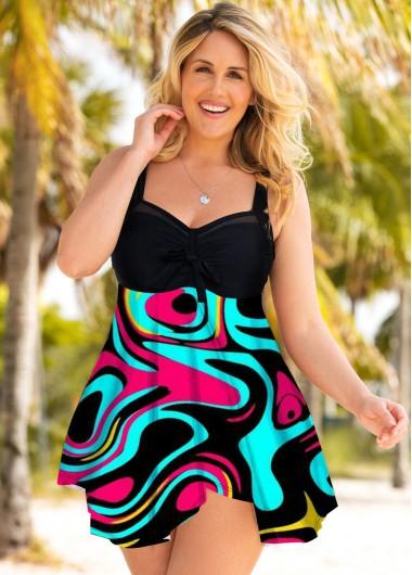 Plus Size Cyan Printed Swimdress and Shorts - 24W