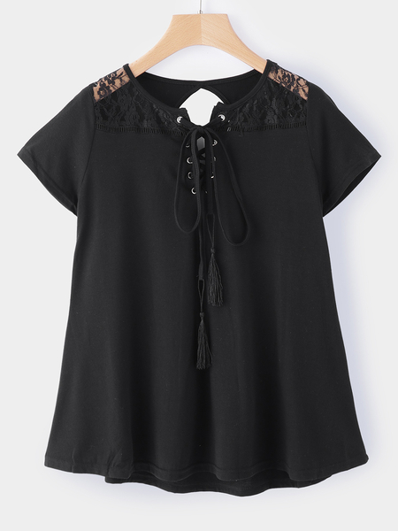 Yoins Black Cut Out Round Neck Short Sleeves T-shirts