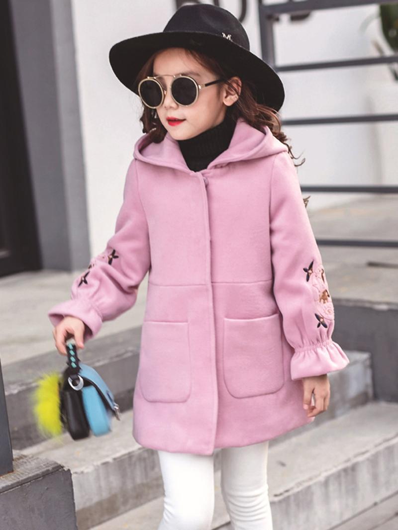 Ericdress Flare Sleeve Hidden Button Hooded Girl's Coat