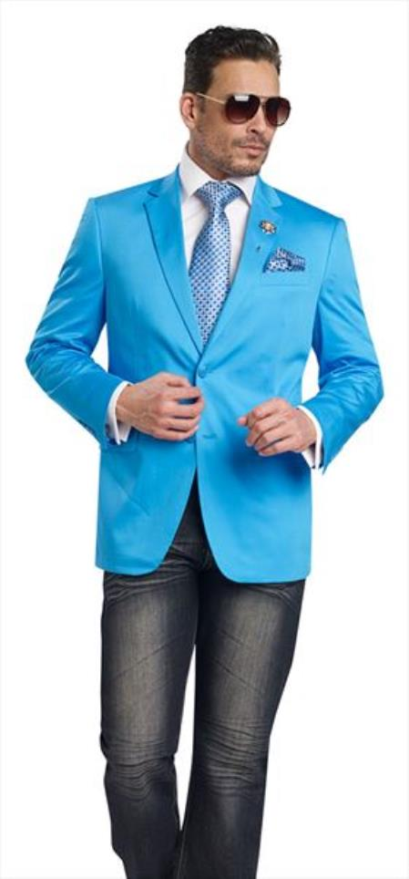 Mens Aqua 2 Button 2 Piece Blazer