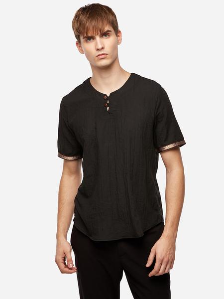 Yoins Black Chinese Style Button Design V Neck Short Sleeve Men's T-Shirt