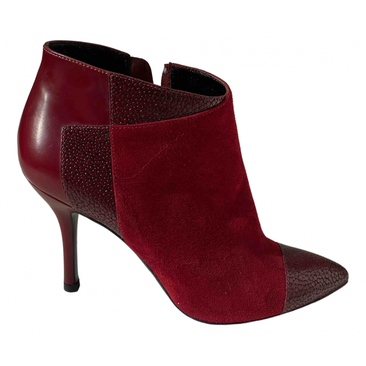 Longchamp \N Burgundy Suede Ankle boots for Women 37.5 EU