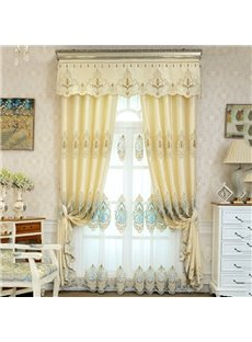 Simple Modern Style European Elegant Embroidered Soft Sheer Curtains