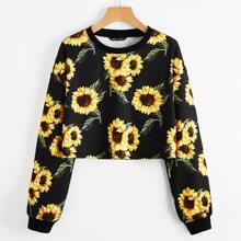 Drop Shoulder Sunflower Print Crop Pullover