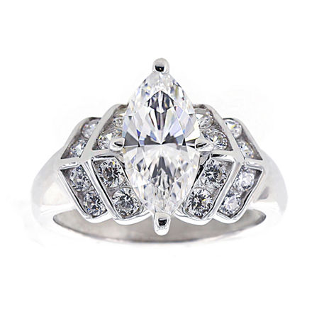 DiamonArt Cubic Zirconia Sterling Silver Marquise Ring, 5 , No Color Family