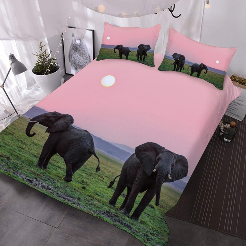 Elephant in the Grass in the Early Morning 3D Warm Animal Comforter 3-Piece Soft Comforter Sets with 2 Pillowcases