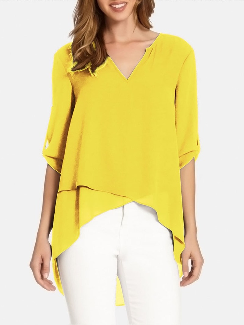 Ericdress V-Neck Asymmetric Plain Chiffon Short Sleeve Single Blouse