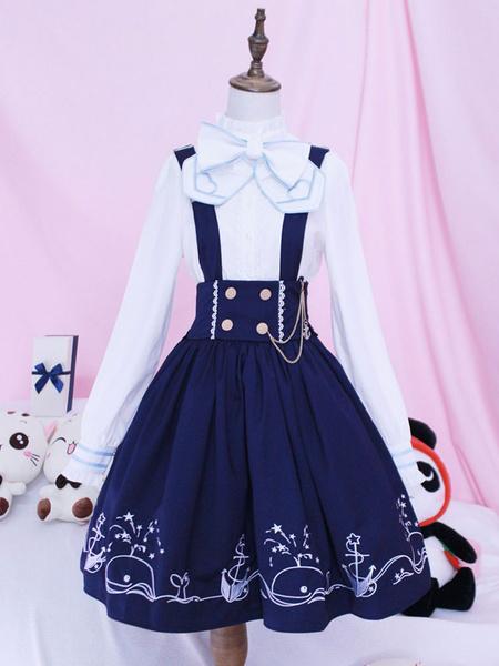 Milanoo Lolita Overall Skirt SK Blue Whale Voyage Print Bows Lolita Skirts