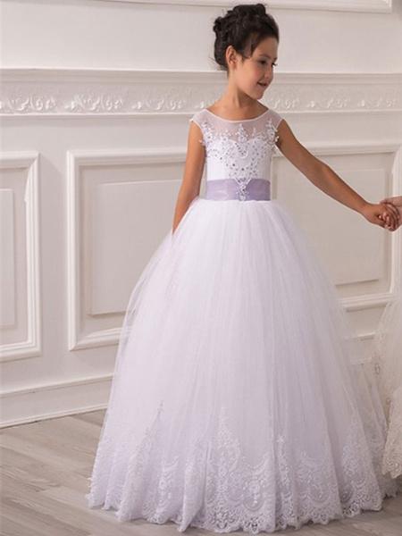 Milanoo Flower Girl Dresses Jewel Neck Tulle Sleeveless Ankle Length Princess Silhouette Bows Kids Party Dresses