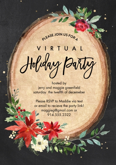 Christmas & Holiday Party Invitations Flat Matte Photo Paper Cards with Envelopes, 5x7, Card & Stationery -Holiday Virtual Invite Wood Plaque by Tumba