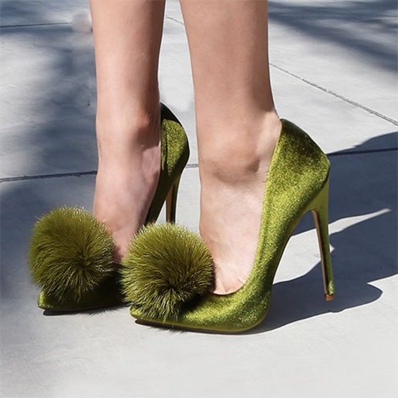 Ericdress Pompon Pointed Toe Plain Stiletto Heel Pumps
