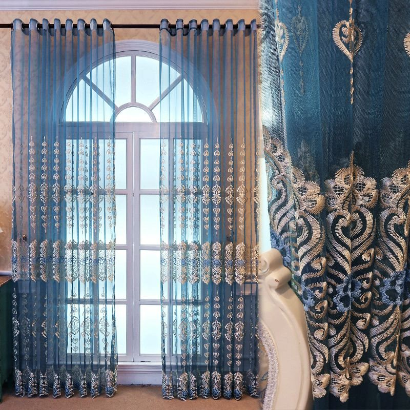 Elegant and Romantic Blue Embroidered Custom Semi Sheer Curtain for Living Room Bedroom