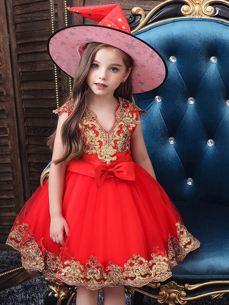 Milanoo Halloween Witch Cosplay Costumes for Chirdren Hot Stamping Lace Red Kids Dress With Hat