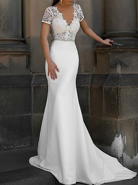 Milanoo Simple Wedding Dress Mermaid Lace V Neck Short Sleeves Beaded Sash Bridal Dresses With Train