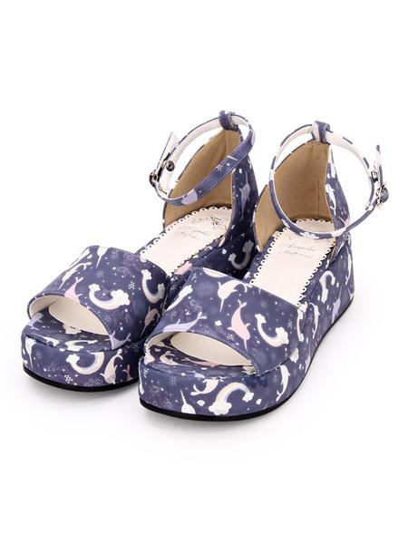 Milanoo Sweet Lolita Sandals Print Ankle Strap PU White Lolita Platform Shoes