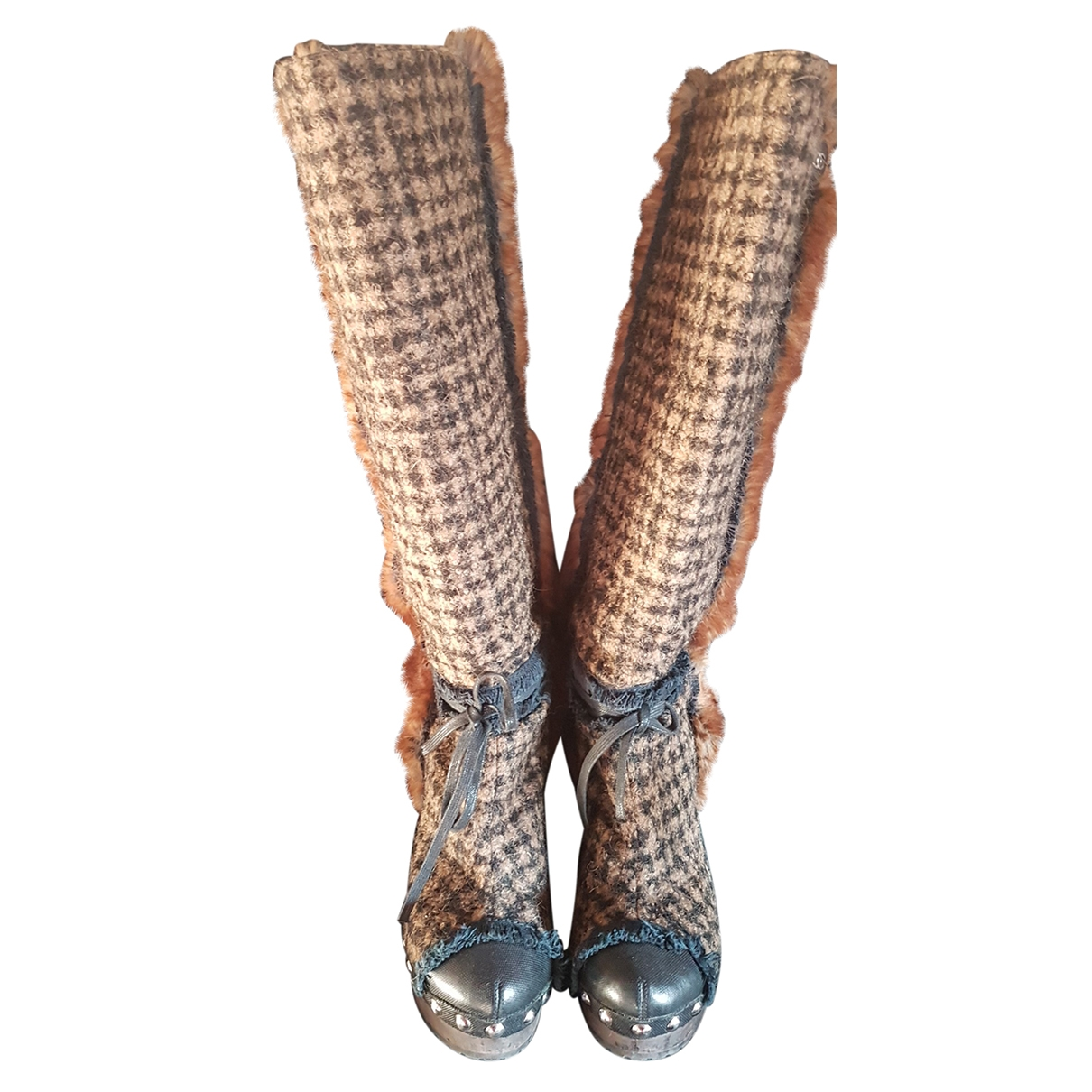 Chanel \N Brown Tweed Ankle boots for Women 39 EU
