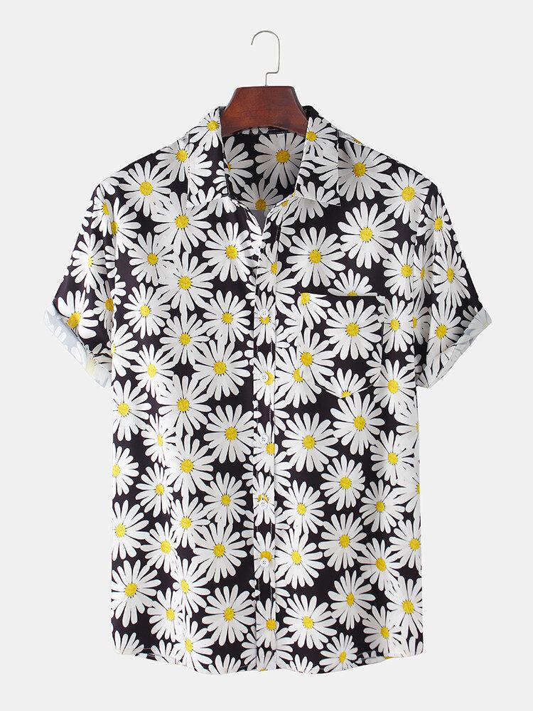 Mens Dasiy Printed Holiday Short Sleeve Turn-down Collar Shirt