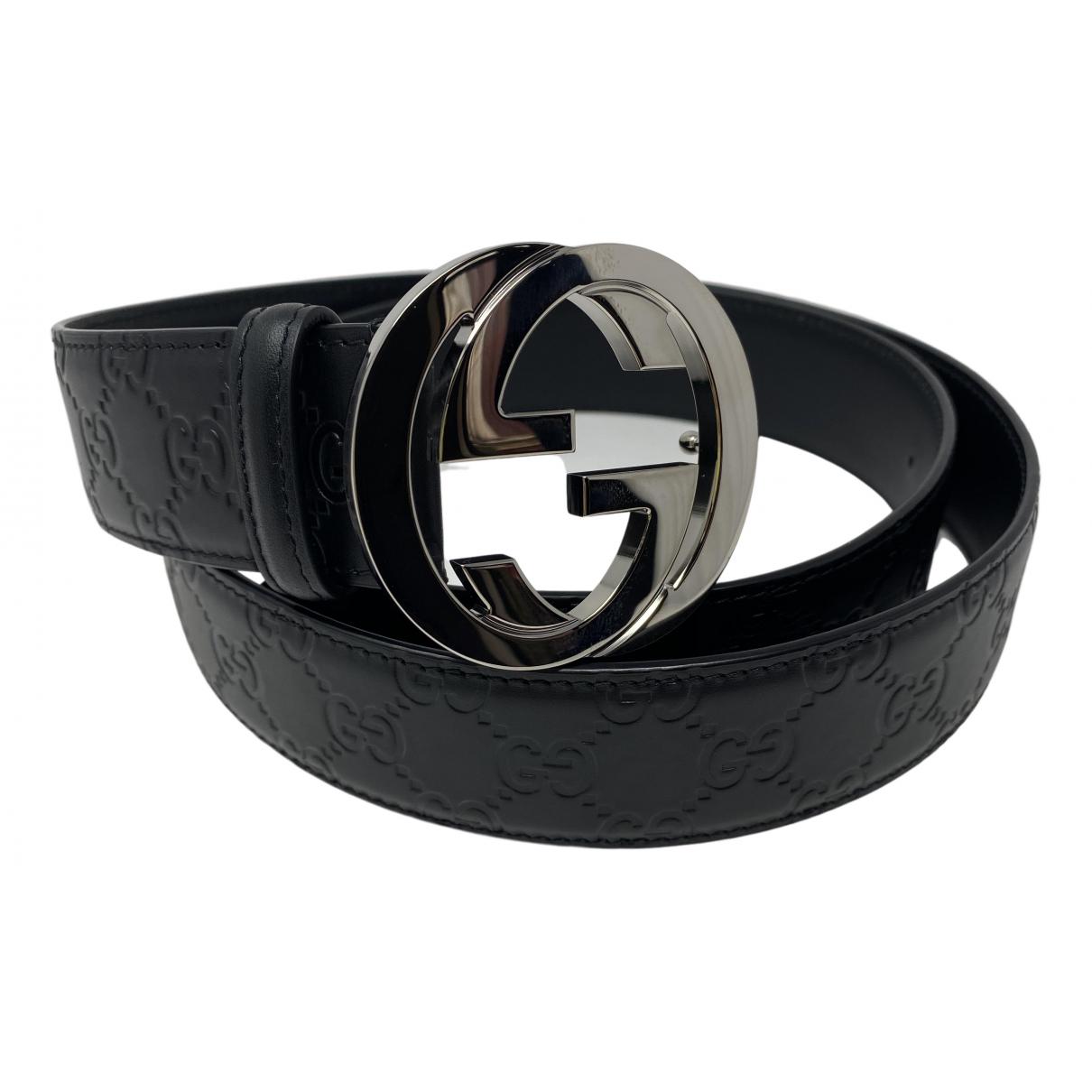 Gucci GG Buckle Black Leather belt for Men XL international