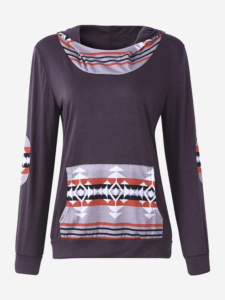 Women Casual Geometrical Print Stitching Hooded Hoodie